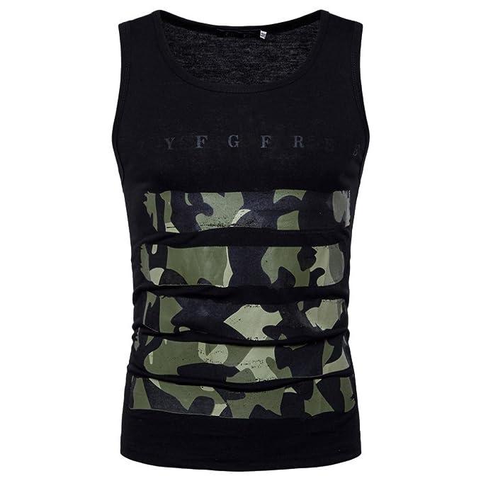 052dbf086a8f ... Herren Camouflage Unterhemden Ärmellos Weste Muskelshirt Coole T-Shirt  Männer Sport Fitness Freizeit Shirt Vest Achselshirt Trainingshirt  Amazon. de  ...