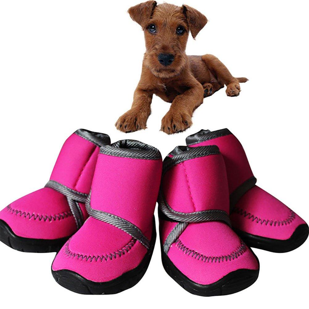 Bottes pour animaux, imperméable à l'eau de chien de dérapage bottes large Velcro Strap résistant à l'usure douce Oxford Soles automne hiver chaud chaussures pour animaux de compagnie chaussures couvre bottes pour le spor