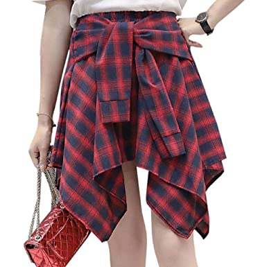 122c81d120f5a Carise Womens Girl Elastic Waist Plaid School Skater Mini Skirt ...
