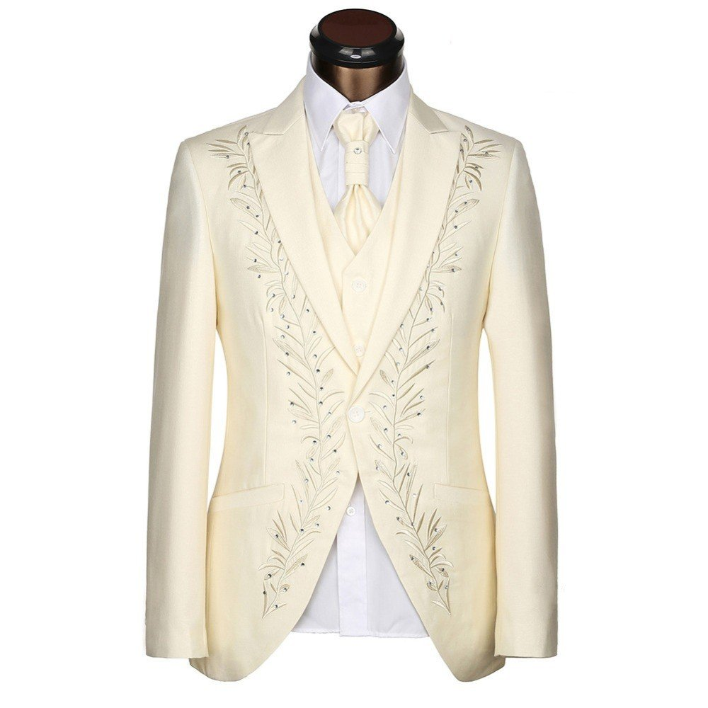 Anylinksuit Ivory Embroidery Groom Tuxedos Men Wedding Party Suits