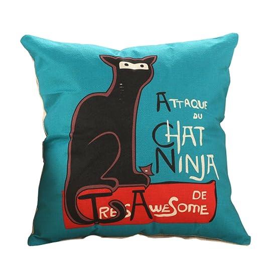 Kanggest Funda de almohada Patrón de gato de dibujos ...