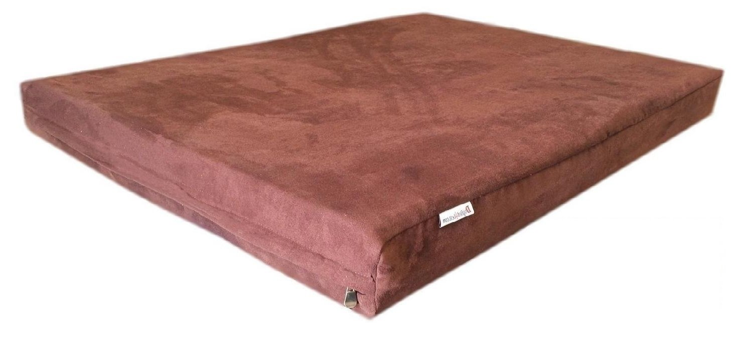 55''x37''x4'' Luxury Comfort Replacement Dog Bed Zippered Duvet Gusset Resistant Anti Slip Cover in Chocolate Brown MicroSuede Fabric 100% Washable - Cover Case Only
