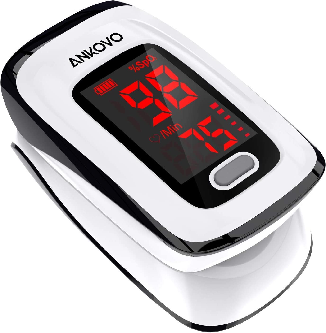 Pulse Oximeter Fingertip (Oximetro), ANKOVO Blood Oxygen Saturation Monitor, Heart Rate Monitor and SpO2 Levels, Portable Pulse Oximeter with Case, Lanyard and Batteries