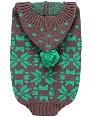 Norbi Winter Autumn Small Pet Dog Cat Outdoor Warm Puppy Sweater Snowflakes Knitwear Clothes Jumper Green M