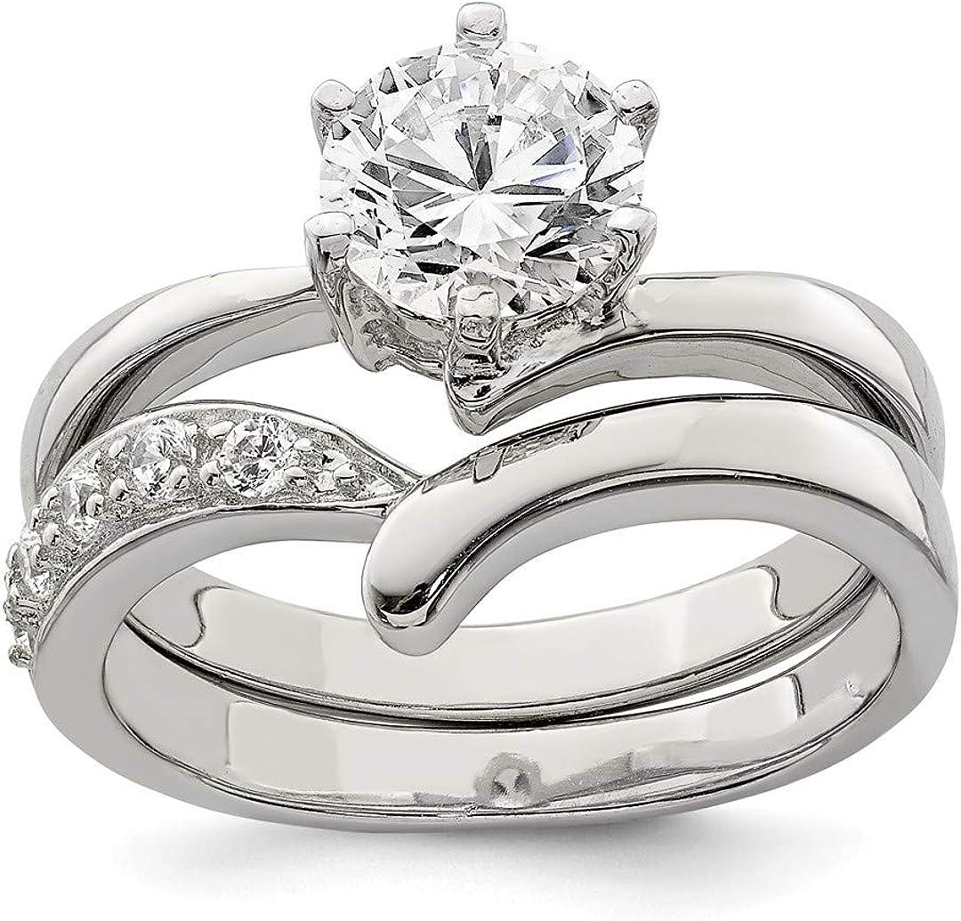 925 Sterling Silver 2 Piece Cubic Zirconia Cz Wedding Band Ring Engagement Satz Fine Jewelry für Women Gift Set