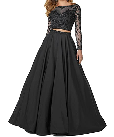 The Peachess 2 Piece Prom Dresses Long Sleeve Evening Party Ball Gowns Black US2