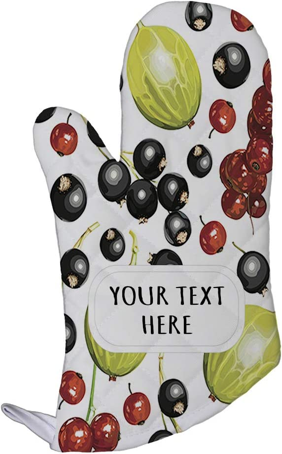 Polyester Oven Mitt Custom Blueberry and Figs Seemless Pattern Adults Kitchen Mittens