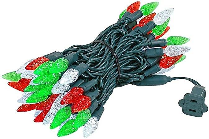 24 FT Green Cord 70 Outdoor Yellow LED C6 Strawberry String Lights