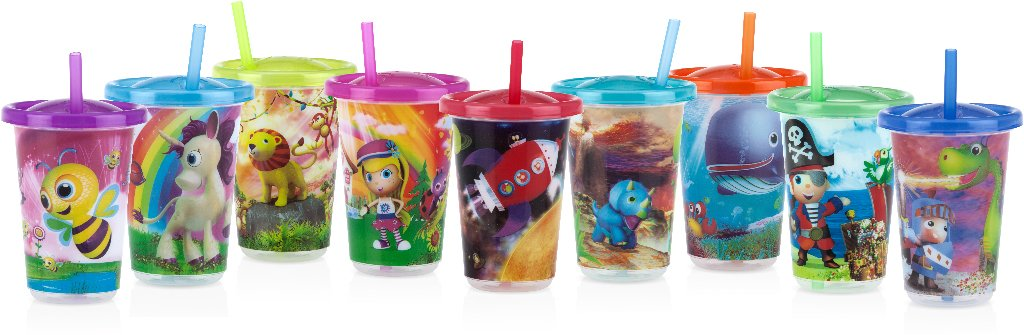 Nuby 1988312 Printed Wash or Toss 10 oz Straw Cups - Pack of 5 - Case of 72