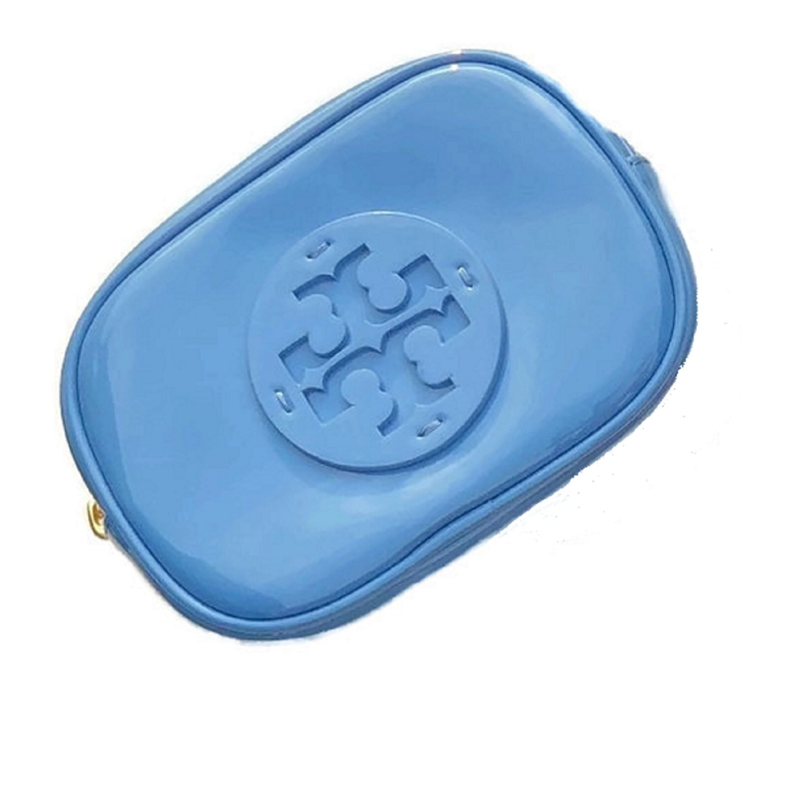Tory Burch Stacked Patent Cosmetic Case Bag Montego Blue