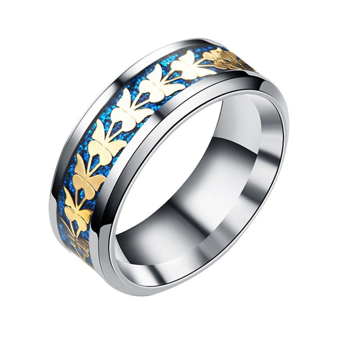 FimKaul 2018 Rings Women Men Bohemian Vintage Silver Stack Butterfly Rings