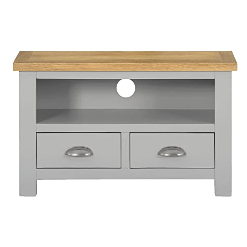 arklow painted oak dovetail grey small tv stand oak tv cabinet living room storage. Black Bedroom Furniture Sets. Home Design Ideas
