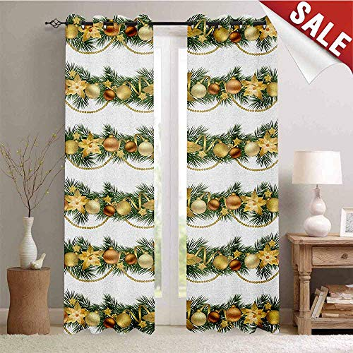 (Christmas, Waterproof Window Curtain, Classical Garland Design with Fir Branches Borders with Poinsettia Flowers, Room Darkening Wide Curtains, W108 x L108 Inch Gold White Green)