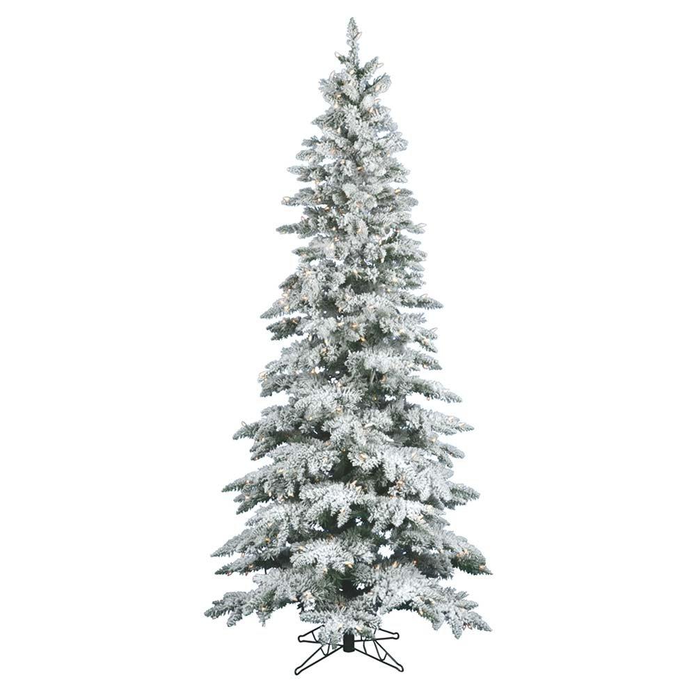 Vickerman Flocked Slim Utica Tree with Dura-Lit 400 Clear Lights, 7.5-Feet by 43-Inch