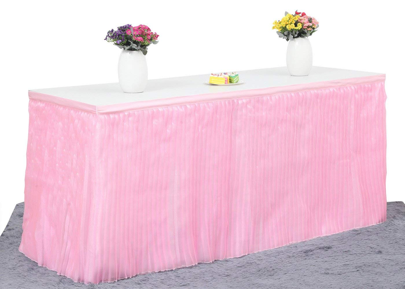 Deluxe Elegant Table Skirt For Party Decoration, Events, Meetings, Birthdays, Wedding, Baby Shower and Home Decoration by HBB Magic (9ft, Pink) …