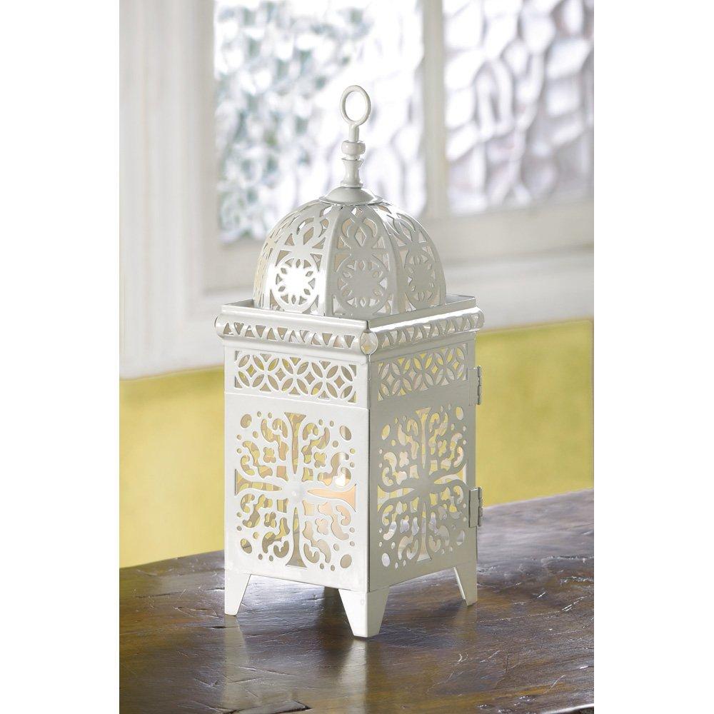 25 WHITE MOROCCAN WEDDING CANDLE LANTERN CENTERPIECES: Amazon.co.uk ...
