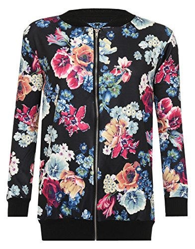 Fashion18 Floral Giacca Black Top Lunghe Donna red Maniche AqH6wB6
