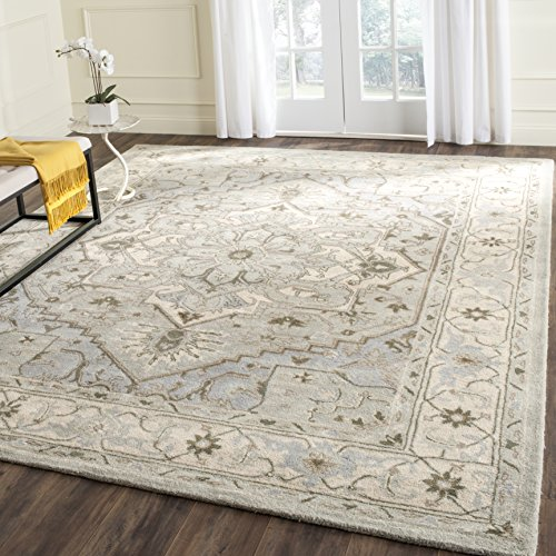 Safavieh Heritage Collection HG866A Handcrafted Traditional Oriental Beige and Grey Premium Wool Area Rug (6' x 9') ()