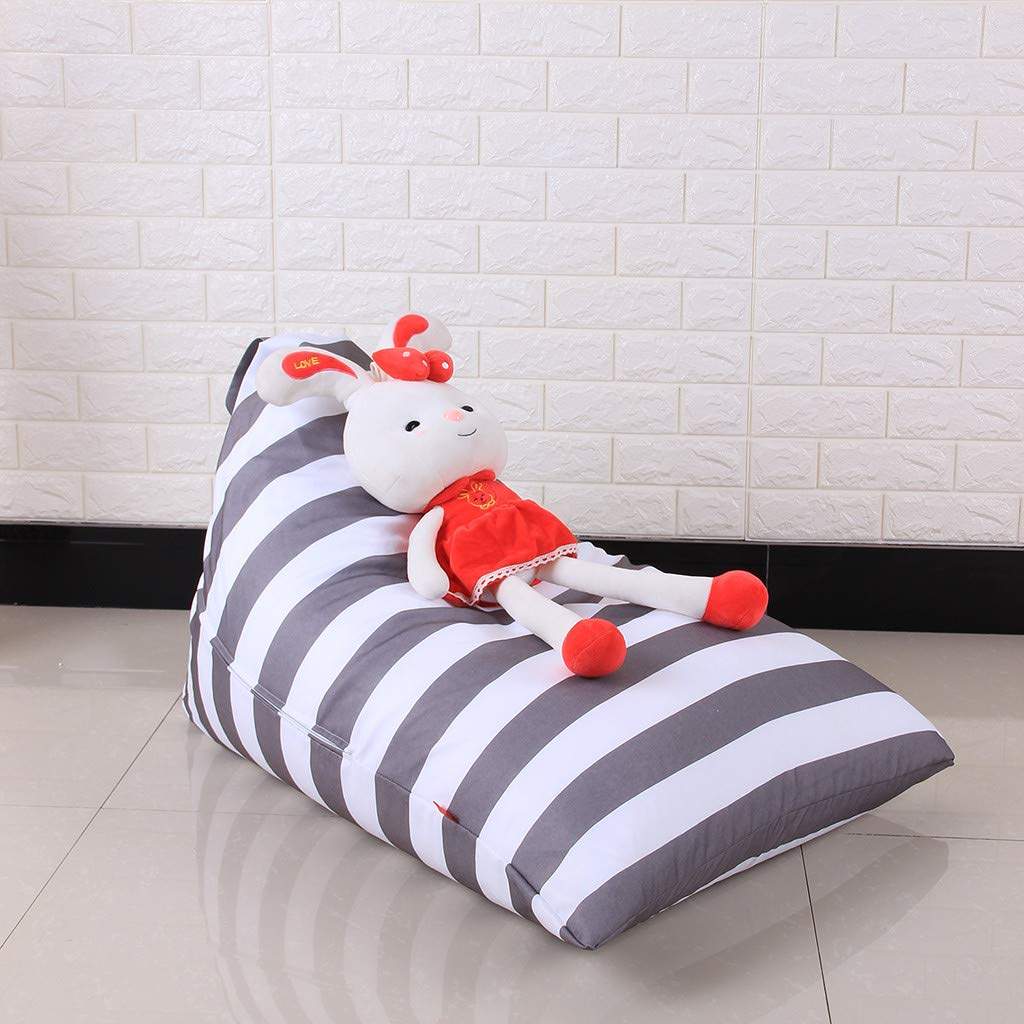 Mlide Kids Stuffed Animal Plush Toy Storage Bean Bag Soft Pouch Stripe Fabric Chair, Fast Delivery Gray