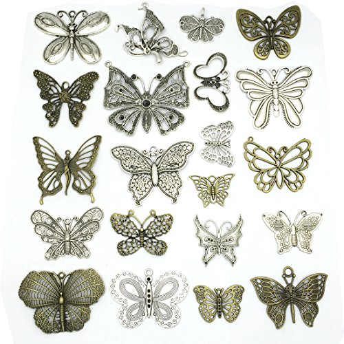 JIALEEY Big Butterfly Charms Beads Necklace Pendants DIY for Jewelry Making and Crafting, 21pcs Mixed Bronze & Silver