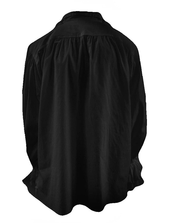 DangerousFX Goth Men 80S Eighties New Romantic Frilly Pirate Shirt Black//White S-XXL