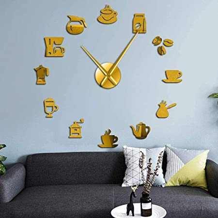 YAZCC Leche cafetera DIY Reloj de Pared Grande Espejo acrílico Sala de Estar Cocina Dormitorio Oficina Oficina decoración sin Marco silencioso Reloj de Cuarzo (Oro): Amazon.es: Hogar