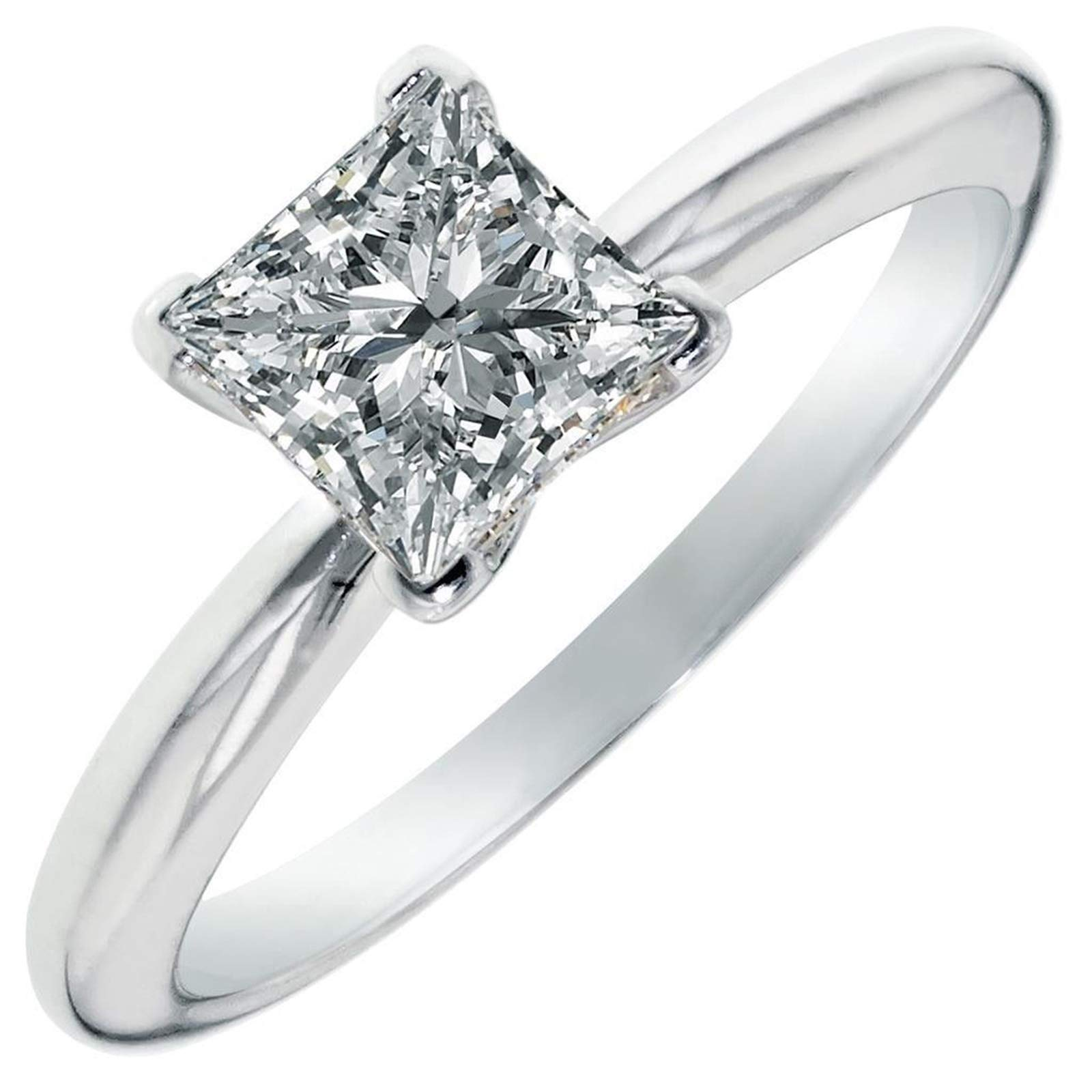 3.0 ct Brilliant Princess Cut Solitaire Highest Quality Lab Created White Sapphire Ideal VVS1 D 4-Prong Engagement Wedding Bridal Promise Anniversary Ring Solid Real 14k White Gold for Women, SZ 5 by Clara Pucci