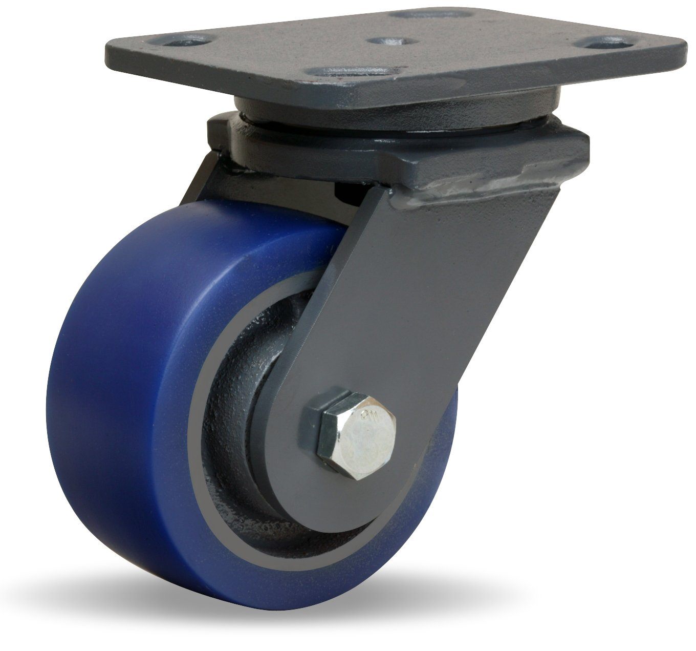 Hamilton Workhorse Plate Caster, Swivel, Poly-Soft Polyurethane Wheel, Precision Ball Bearing, 600 lbs Capacity, 4'' Wheel Dia, 2'' Wheel Width, 5-5/8'' Mount Height, 5'' Plate Length, 4'' Plate Width