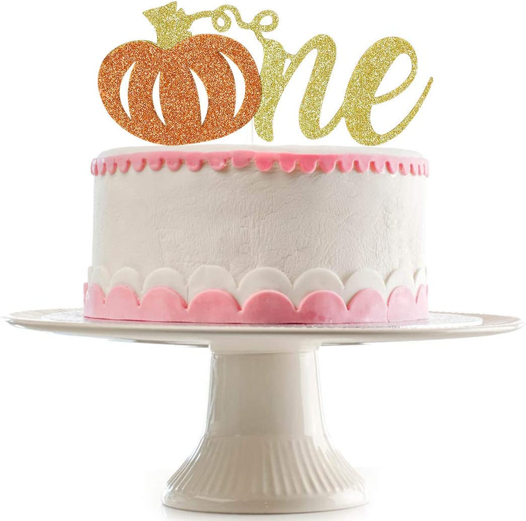 Brilliant Amazon Com Glittery Pumpkin One Cake Topper First Birthday Cake Personalised Birthday Cards Beptaeletsinfo