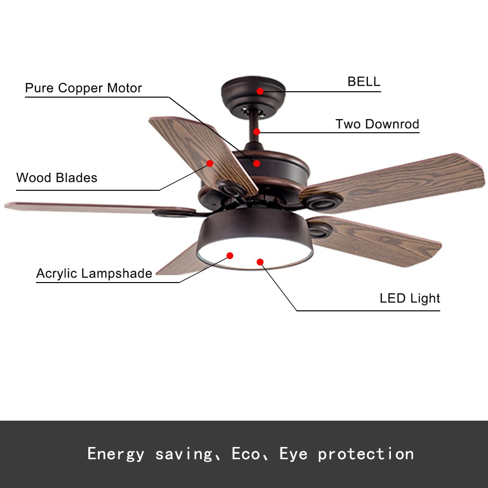 RainierLight Rustic Rural Ceiling Fan 5 Wood Blades Opal Glass Lampshade Remote Control for Indoor LED Fan Chandelier Lighting Fixture (42inch)