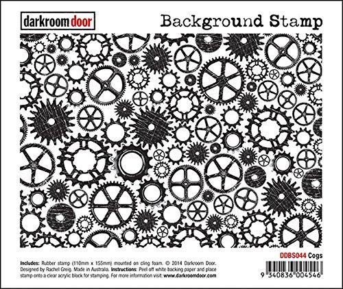Darkroom Door Cogs Rubber Background Stamp with cling foam - DDBS044