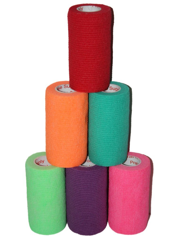 "3"" Medical Wrap Tape Bulk, Self Adherent Rap Tape, Self Adhering Stick Bandage, Self Grip Roll, Power Flex Wrap - 3 inches x 15' Feet - 6 Rolls - Assorted Colors"
