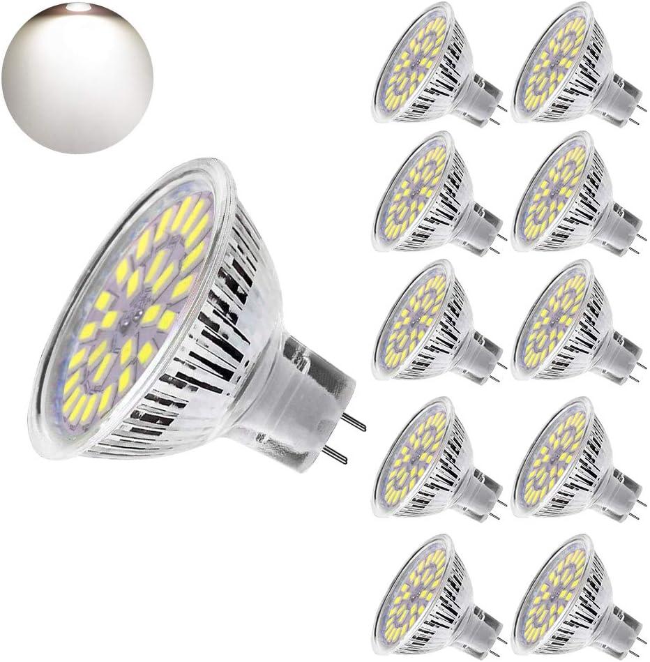 Bombilla LED MR16 5W, Eterbiz Lámparas Halógenas Equivalentes a 50W, GU 5.3 LED Blanco Frio 6000K LED Spotlight, Bombillas led 12 voltios, 450LM, LED MR16 No Regulable, Pack de 10