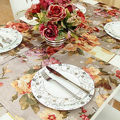 All U?Want Set of 4 Peony Pattern Printing Polyester Placemats