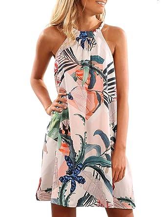 903f18b28c SEBOWEL Damen Blumendruck àrmellos Sommerkleid Badebekleidung vertuschen  rückenfreies Strandkleid eine Linie Minikleider, 2 Blue,
