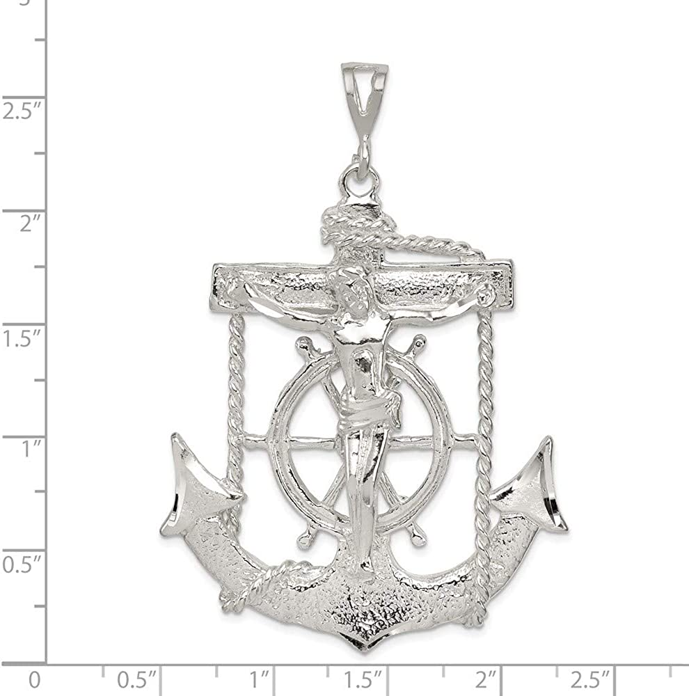 46mm x 66mm Solid 925 Sterling Silver Mariner Cross Pendant