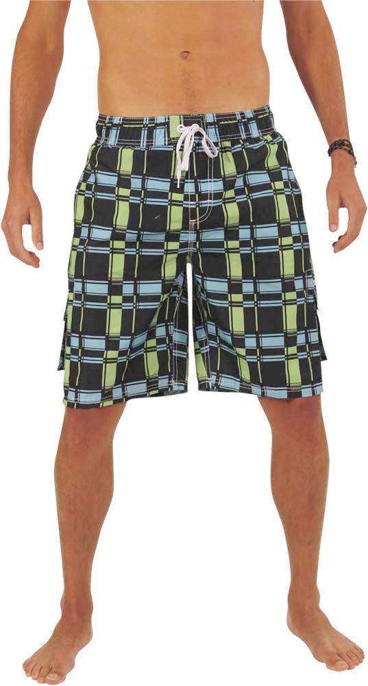 NORTY Swim - Mens Plaid Swim Suit, Black, Aqua, Lime 39958-X-Large