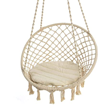 Pureday Cream Coloured Hanging Chair With Round Quilted Cotton Seat Cover  Height 125 Cm X Diameter