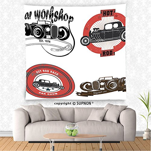 VROSELV custom tapestry Cars Decor Tapestry Wall Hanging Retro Pop Art Style Automotive Emblem Print with Grunge Distressed Old Featured Color Properties Bedroom Living Room Dorm Decor - Colours Automotive Nelson