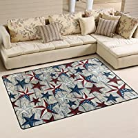 DEYYA Home Contemporary July 4th Independence Day American Flag Stars Area Rugs 325 x 5, Modern Non-Slip Doormats Carpet for Living Dining Room Bedroom Hallway Office Easy Clean Footcloth