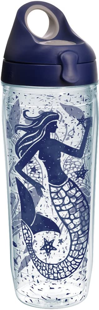 Tervis 1232305 Vintage Mermaid Collage Tumbler with Wrap and Navy with Gray Lid 24oz Water Bottle, Clear