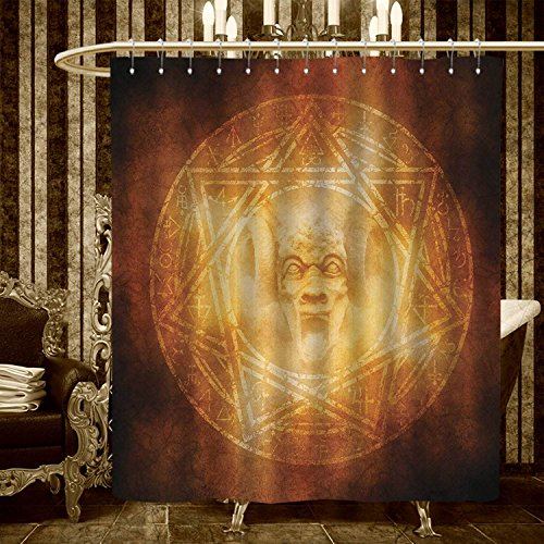 warmfamily Horror House shower curtains sets bathroom Demon Trap Symbol Logo Ceremony Creepy Scary Ritual Fantasy Paranormal Design Satin Fabric sets bathroom 84''x72'' Orange by warmfamily