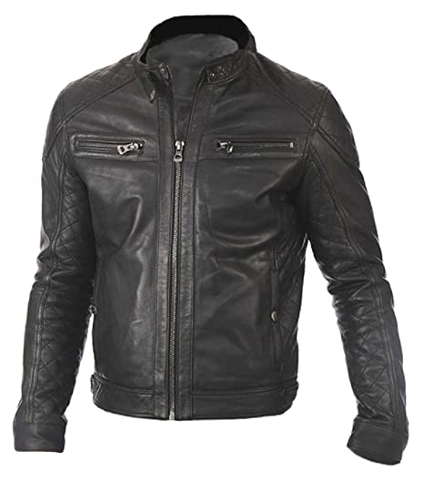 c4b4a87c0 The Leather Factory Men's Genuine Lambskin Leather Biker Jacket Quilted  Style