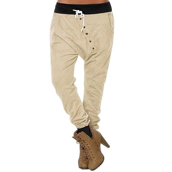 SOMESUN Pantaloni da Donna a Vita Bassa con Bottoni e Pantaloni Sportivi  Casual Bottone Larghi Taglie 60e238fd3a6