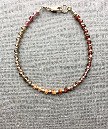 JP_Beads Tundra Sapphire Gemstone Bracelet, Tunduru Sapphire Delicate Boho Skinny Stack Bracelet, Luxe Multi Color Tiny Stone Bracelet, 14K Gold FilledFilled Fill 3.5 mm