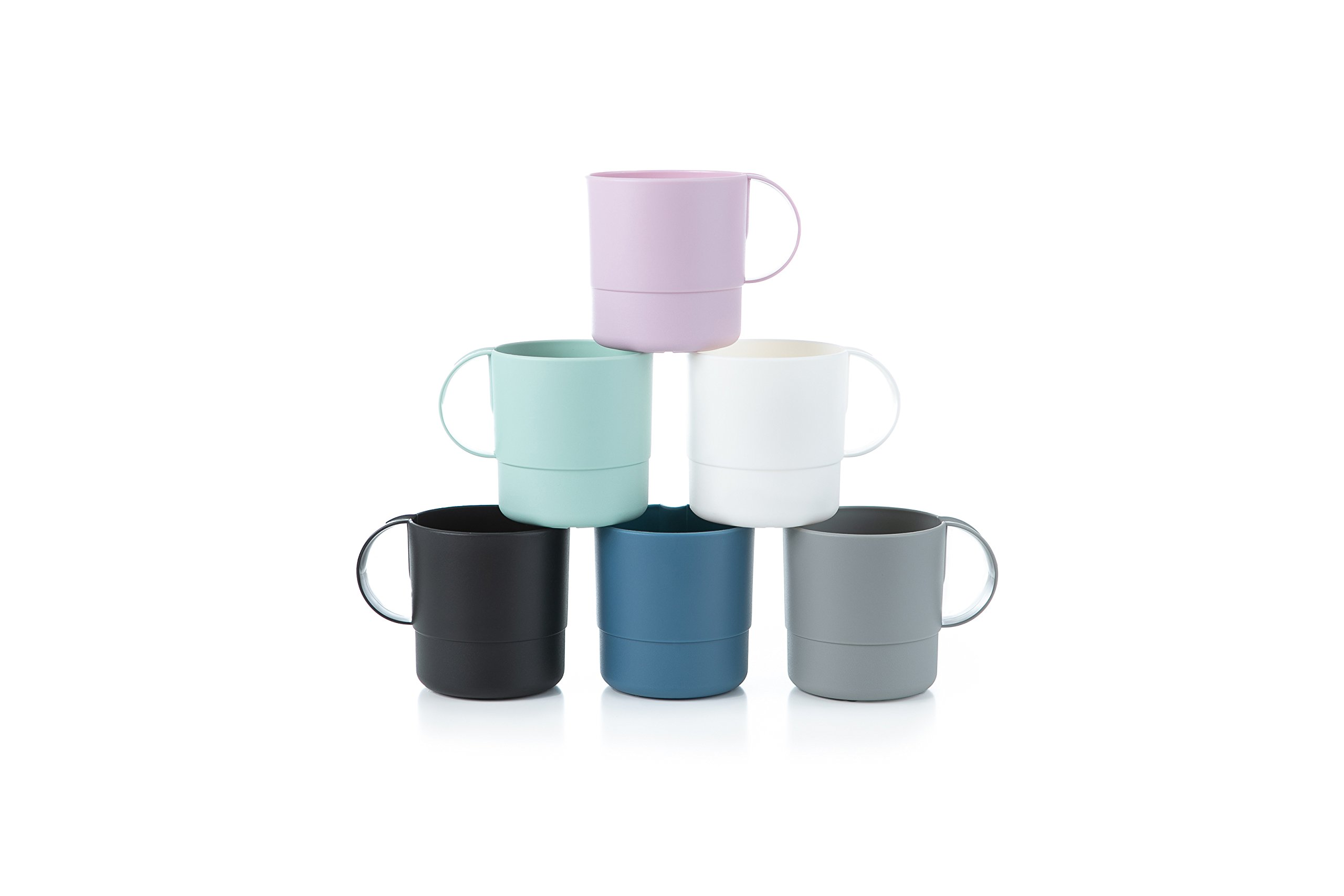 Amuse- Eco Friendly Sturdy Unbreakable & Stackable Mugs for Water, Coffee, Milk, Juice, Tea- Set of 6-11 oz (Assorted Colors)