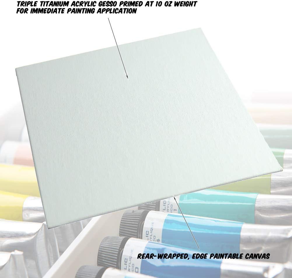 Markin Arts Vogue Heat Pressed Hi-Density Acid//Discolor Free 100/% Cotton Medium Weight 10oz Triple Titanium Acrylic Gesso Primed Vertical Horizontal Art Canvas Panel Board Oil Paint 12x24 5-Pack