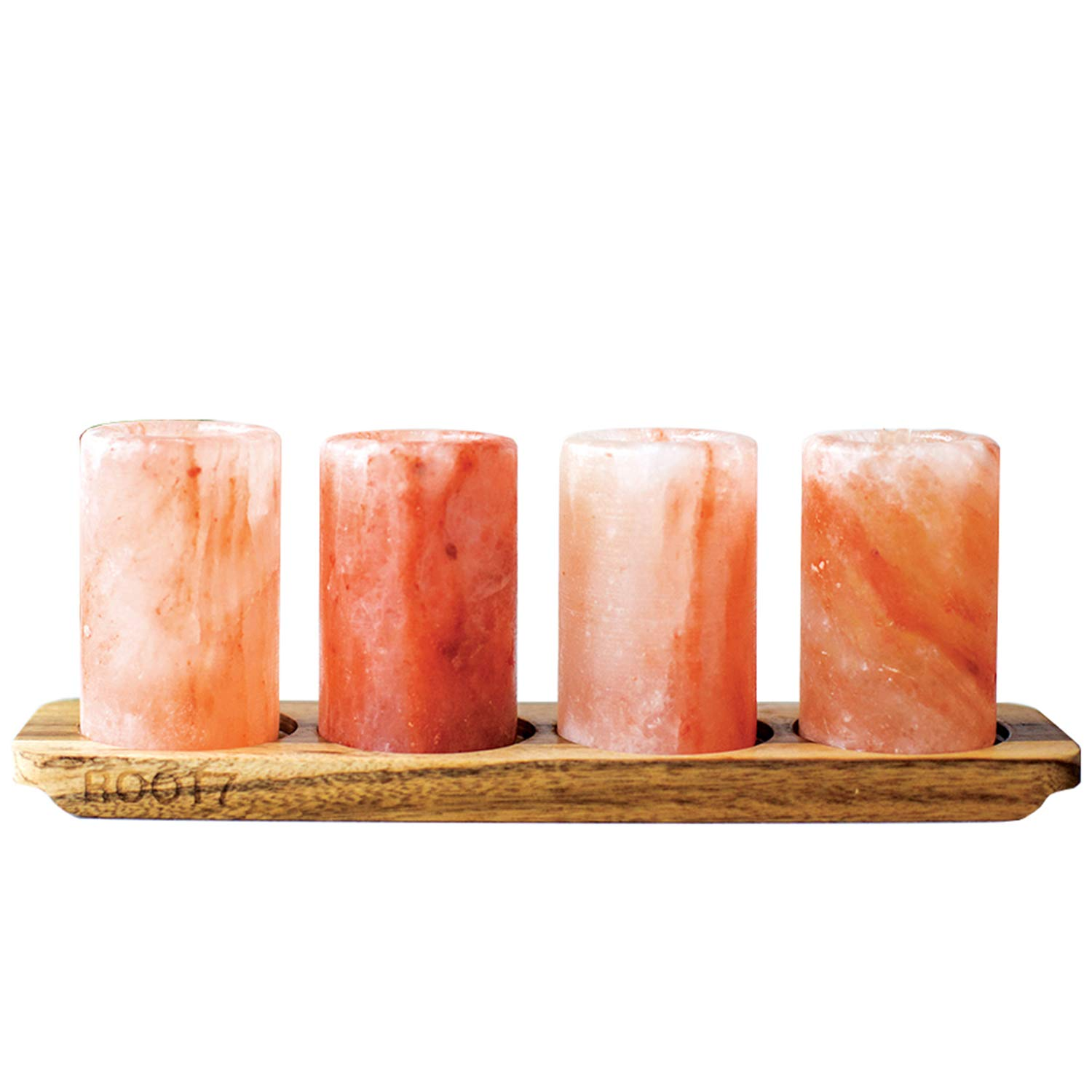 3'' Himalayan Salt Shot Glasses - 4 Pack With Acacia Wood Serving Board From Root7. Set Of 4 Salt Shot Tequila Glasses. FDA Approved Ethically Sourced 100% Natural Himalayan Salt. by Root7