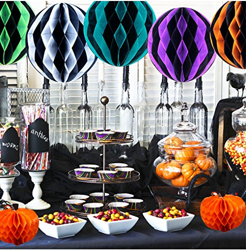 Halloween Party Honeycomb Ball Decorations Kit - Pumpkin Pendant Honeycomb Ball Tissue Paper Pompoms Witches Party Paper Flower Craft Kit, Photo Backdrop, Construction Birthday Engagement Party Décor