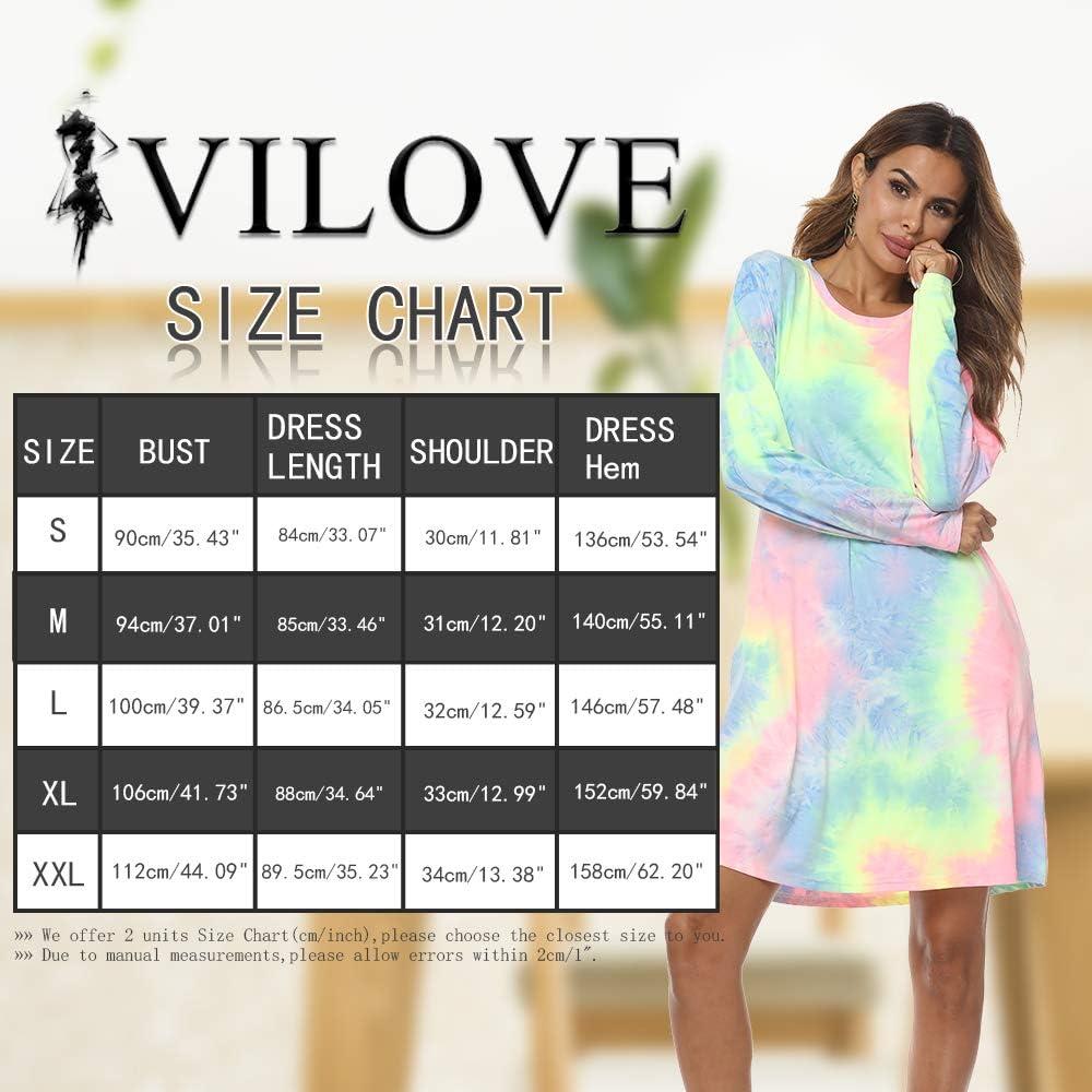 VILOVE Women/'s Long Sleeve T Shirt Dress Tie Dye Print O Neck Casual Swing Dress with Pocket